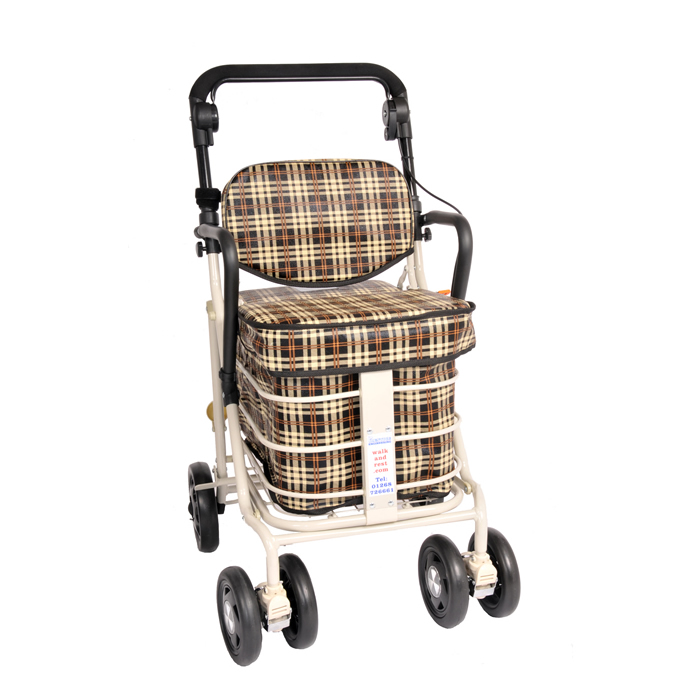 The NEW Backrest Shopper with Armrest - Brown Tartan